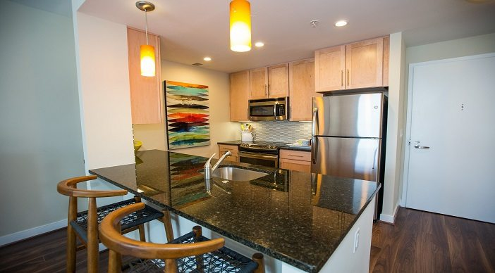2M Street Apartments: DC Apartments: DC Rentals: Washington DC: Kitchen:Island: Granite Counters: Stainless Steel Appliances