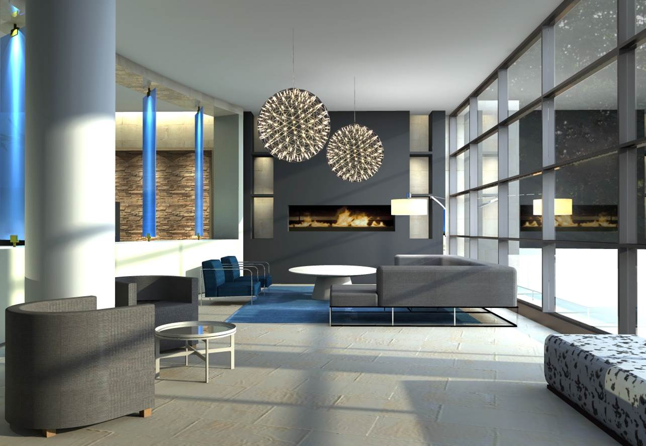 Park Chelsea Apartments Lobby Fireplace | Luxury Pet-Friendly Apartments in Washington DC